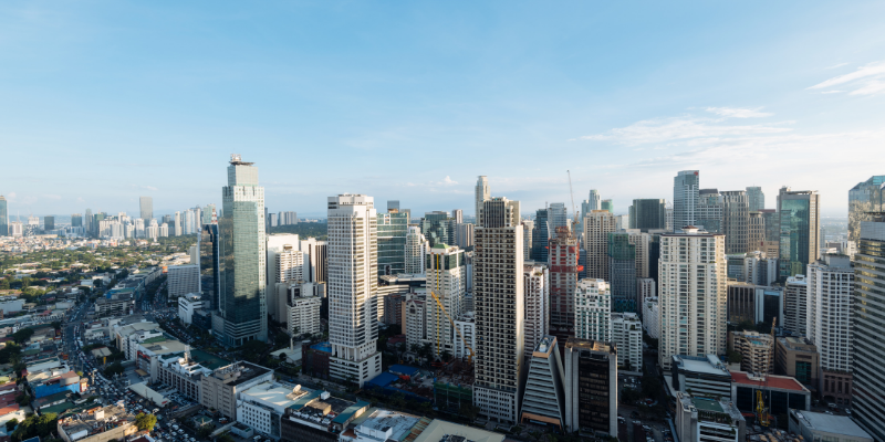 a view of a city with a tall buildings